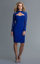 Pencil Lace Knee-Length High-Neck Jersey Long-Sleeve Keyhole Dress