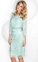 Bateau 3-4-sleeve Pencil midi Dress With Tiers And Lace
