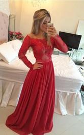 Chiffon Princess A-Line Applique Dress