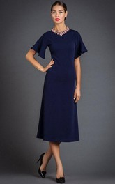 Jewel-Neck Half Sleeve Tea-length Mother of the Bride Dress