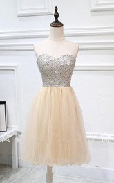 Mini Straplrdd Tulle Dress With Crystal Detailings