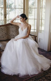 Ethereal Spaghetti Straps Plunging V-neck Backless Tulle Bridal Ballgown With Lace Appliques