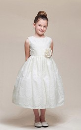 Floral Sash Jeweled 3-4-Length Lace Flower Girl Dress