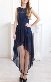Bateau High-low Chiffon A-line Dress With bow And Lace top