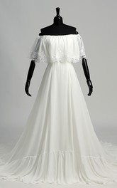 A-line Chiffon Off-the-shoulder Chapel Train Sleeveless Lace Pleats Ruched Wedding Dress