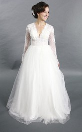 Tulle Rhinestone Wedding Long-Sleeve V-Neckline A-Line Gown