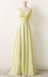 Chiffon Sleeveless A-line Floor-length Bridesmaid Dress With Deep-V Back