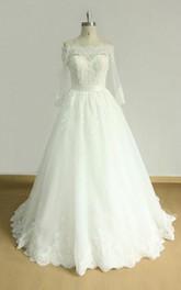 Lace Wedding Off-The-Shoulder A-Line Satin Dress
