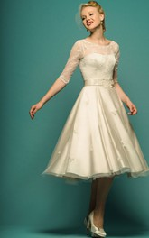 Bateau Illusion Half Sleeve A-line Tea-length Wedding Dress With Appliques