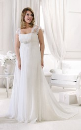 Chiffon Cap-sleeve Empire long Wedding Dress With Lace