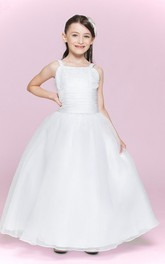 Bandage Flower Organza Bateau-Neckline Flower Girl Dress