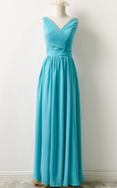Plunged Sleeveless Chiffon Floor-length Dress With Pleats And Zipper
