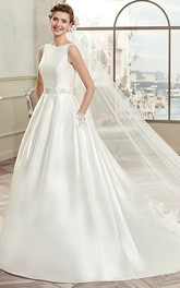 Jewel-Neck Sleeveless A-line Satin Wedding Dress With Embellished Waist
