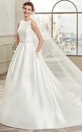 Jewel-Neck Sleeveless A-line Satin Wedding Dress With Embellished Waist