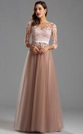 3 Zipper Long High-Waist Appliqued Gown