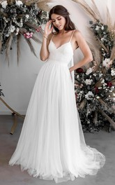 A-line Casual Ethereal Spaghetti V-neck Sexy Lace Tulle Bridal Gown With Court Train