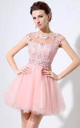 Short Sleeve A-line Short Mini Bateau Beading Pleats Lace Tulle Homecoming Dress