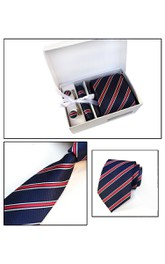 Satin Wide Tie and Pocket Square Combo Plus Cufflinks and Tie Clip Set-11 Color Options
