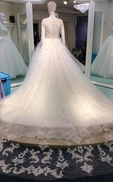 Lace Cathedral Train Scoop-Neck Romantic Gown