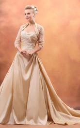 Ruched Chapel Train Sweetheart Taffeta Gown