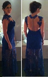 sheath Sleeveless High Neck Lace Floor-Length Dresses