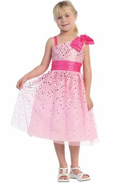 Tulle Sash Tea-Length Floral Flower Girl Dress