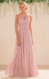 Jewel-Neck Sleeveless Chiffon long Bridesmaid Dress With Lace top