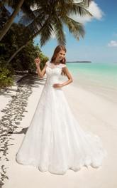 Short-Sleeve Keyhole Floor-Length A-Line Lace Gown