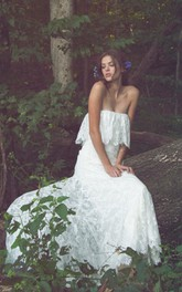 Lace Ruffled Floor-Length Off-Shoulder Wedding Dress