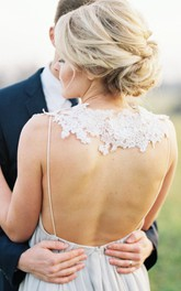 Long Ruched Sleeveless V-Neckline Wedding Gown