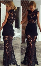 Formal Es Lace Sleeveless Sheer Skirt Black Sassy Gown