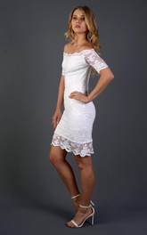Short Detachable Skirt Lace Full Bridal Dress