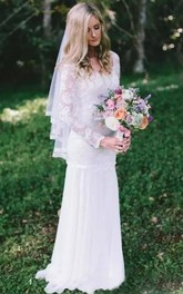 Scoop Chiffon Lace Illusion Long Sleeve Wedding Gown