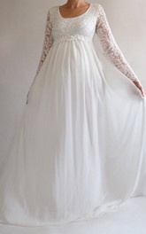 Beach Square Long Sleeve Lace Pleated Maternity Wedding Dress