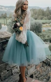 Long Sleeve A-line Two Piece Tea-length Pleats Lace Tulle Homecoming Dress