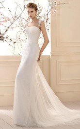 Queen Anne Tulle Lace Wedding Dress With Sweep Train