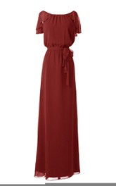 Petal-Sleeve Knot Detail Floor-Length Long Gown
