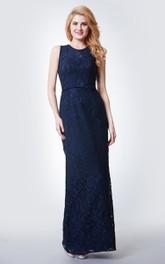 Lace Keyhole Back Floor-Length High-Neckline Bridesmaid Dress