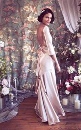 Bateau 3 4 Length Sleeve Deep V Back Satin Wedding Dress With Crystal Detailing