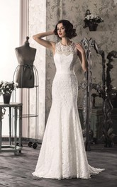 Jewel-Neck Sheath Sleeveless Lace Wedding Dress With Keyhole And Sweep Train