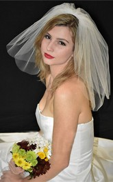 Double-Layer Short Bridal Veil With Hair Comb