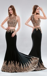 2-Piece Illusion Appliqued Column Long Sleeveless Jewel-Neck Jersey Dress