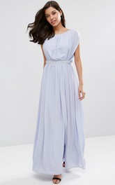 casual scoop-neck Ankle-length Chiffon Dress With Split Front