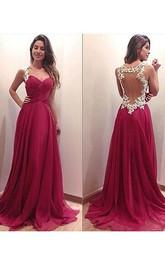 Chiffon Es Sweetheart Princess A-Line Brush-Train Gown
