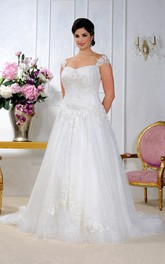 Cap-sleeve A-line Tulle Lace Appliqued plus size wedding dress With Corset Back