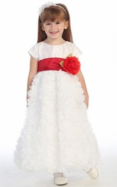 Tulle Cap-Sleeve Ankle-Length Flower Girl Dress