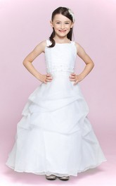 Floor-Length Ruffled Skirt A-Line Bateau-Neckline Flower Girl Dress