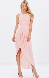 jewel-neck Sleeveless Split Front Dress With Lace top
