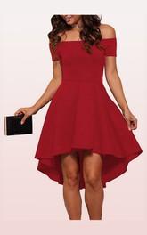 Off-the-shoulder Taffeta Short Sleeve Mini High-Low Prom Dress with Pleats
