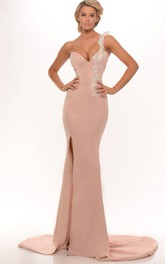 One-shoulder Jersey Split Front evening Gown With Sweep Train